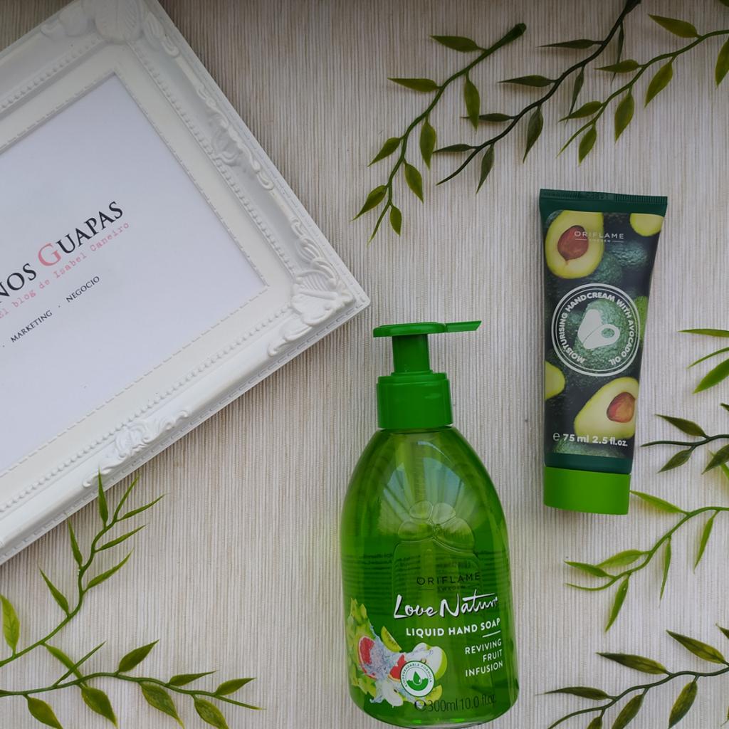 Jabón de manos Love Natura biodegradable y crema de manos de aguacate Oriflame